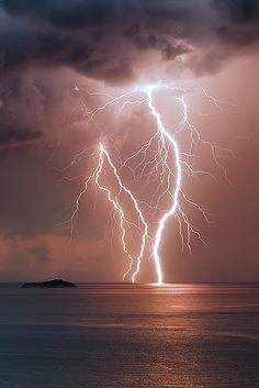 "atmospheric-phenomena: ""  Lightning Strike  Intense summer storm arriving on elafiti Islands Storm Coming by Boris Basic """
