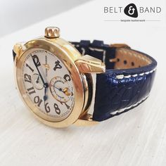 Our navy blue ostrich strap is the perfect compliment to the navy hands on this handsome gold Ulysse Nardin watch. A winning combination we think - would you agree? Dark Navy, Navy Blue, Handmade Jewelry, Handmade Leather, Leather Working, Gold Watch, Watch Straps, Belt, Watches