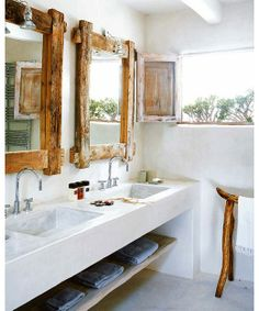 white and rustic woods. I like the shelf under the sinks too!