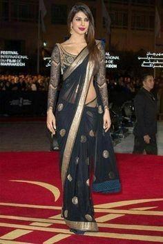Pryianka Chopra arrives to the awrard ceremony of the International Marrakech Film Festival. (GETTY/GALLO)Pryianka Chopra attends the ceremony awrard of the International Marrakech Film Festival in Marrakech, Morocco. Priyanka Chopra Saree, Bollywood Saree, Bollywood Fashion, Bollywood Actress, Saree Fashion, Ritu Kumar, Saree Draping Styles, Saree Styles, Drape Sarees