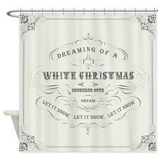 Vintage White Christmas Shower Curtain On CafePress Curtains Bathroom