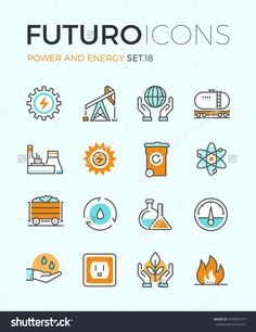 Line icons with flat design elements of power and energy production, electric industry, world ecology conservation, coal mining minerals. Modern infographic vector logo pictogram collection concept.