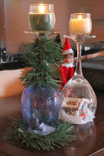 Snow Globe wine glass candle holders. Cheap, easy holiday crafts. Homemade holiday gift for under $5 each.