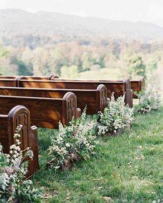 A Fun-Filled Farm Wedding in Tennessee Larkin & Eric's Tennessee wedding - pews Wedding Pews, Outside Wedding, Farm Wedding, Wedding Venues, Wedding Church, Wedding Band, Wedding Couples, Church Pew Wedding Decorations, Ikea Wedding