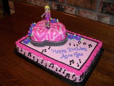 """Anna Kate's Rock Star Cake Almost 6 years old, Anna Kate told her mom she wanted a """"Rock Star"""" cake this year. Her mom. Rock Star Cakes, Specialty Cakes, Pink Zebra, Cake Shop, Party Cakes, Food Network Recipes, Chocolate Cake, Birthday Cake, Birthday Ideas"""