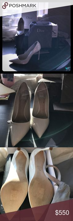 2017 White patent clafskin Christian Dior shoes Beautiful white leather Dior 2017 shoes. Size 39 or 9 for women. Comes with shoes, duster bags and the box. In fantastic condition. Christian Dior Shoes Heels