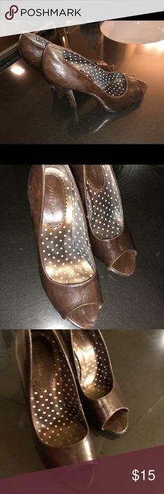 Brown peep toe heels Brown peep toe heels Xappeal Shoes Heels