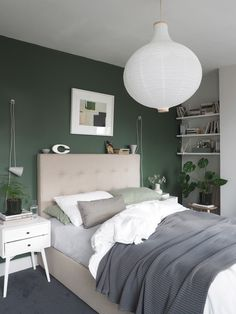 A simple guest bedroom update with Heal's Morten Collection - cate st hill Grey Green Bedrooms, Green Bedroom Walls, Green Master Bedroom, Green Bedroom Decor, Bedroom Wall Colors, Room Ideas Bedroom, Green Rooms, Home Decor Bedroom, Beige Walls Bedroom