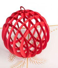 Pop. Delight. Surprise. Christmas. LovePop's Red Ornament Paper Pop Up Card. #Christmas