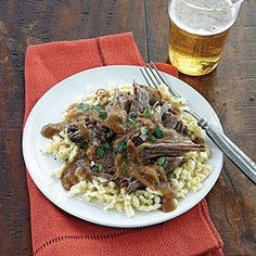 Sauerbraten | MyRecipes.com The spicy-sweet gingersnaps soften the tang of white vinegar. Serve the tender marinated beef and sauce over spaetzle (tiny noodles or dumplings) for an authentic German feast  Note: marinate24 hours