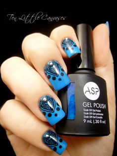 Weekly Mani: ASP Alluring Azure with MoYou stamp | Ten Little Canvases