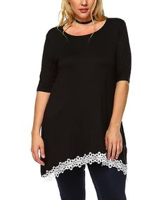 Joy USA Black & White Floral Lace-Trim Tunic - Plus | zulily