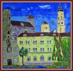 Meine Stadt: Geisenfeld Email, Cloisonné, geschliffen, ca 25 x 25 cm