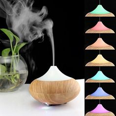 Infiland Ultrasonic Humidifier Air Purifier Aroma Diffuser Mini Electric Aromatherapy Essential oil Diffuser Whisper-Quiet Cool Mist Humidifier Auto Shut Off---Light Brown