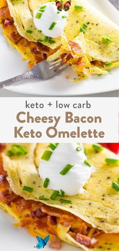 5 Minute Bacon Keto Omelette For delicious keto breakfast ideas a keto omelette is a easy choice. Featuring eggs, cheese and bacon which are all keto friendly. This easy low carb recipe can be made in little as 5 minutes!  #keto #lowcarb #bacon #ketobreakfastrecipes #omelette #eggrecipes<br> Egg Omelette Recipe, Ham And Cheese Omelette, Keto Egg Recipe, Quick Keto Breakfast, Bacon Breakfast, Breakfast Recipes, Breakfast Ideas, Breakfast Omelette, Breakfast Casserole