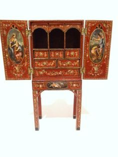 """Wonderfully delicate and well-proportioned, a beautifully hand-painted cabinet by Natasha Beshenkovsky 1984 featuring exquisitely painted classical figures and floral garlands inside and out. So petite at 4.5"""" H, 2"""" W"""