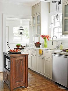 Small space kitchen island ideas renovated kitchen for Kitchen cabinets 8 inches deep