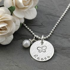 """Mommy Jewelry - Personalized hand stamped necklace -  5/8"""" disc with pearl."""