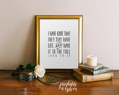 Bible Verse art, printable Scripture Print Christian wall art decor poster, inspirational quote typography - John 10:10 - digital by PrintableWisdom on Etsy