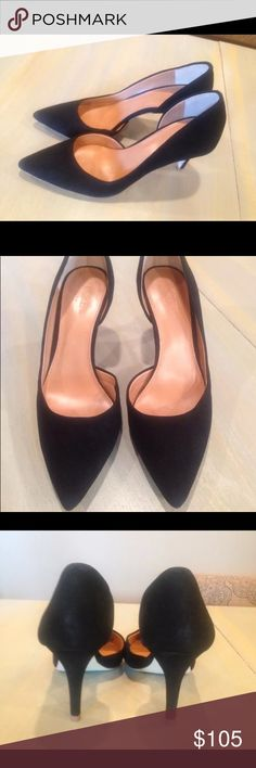 J. Crew D'Orsay Black Suede Heels $128 SOLD OUT These stylish heels are sold out online & retail for $128! They are in EUC! Size 7! J. Crew Shoes Heels