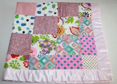 Handmade pink Baby Girl patchwork Quilt Blanket Satin trim edge Daisy Smile Dots #Handmade