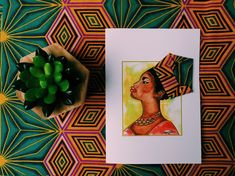 This greeting card is part of the 'Motherland Range' and  incorporates beautiful  African fabric  to form the headwrap adding that unique touch.