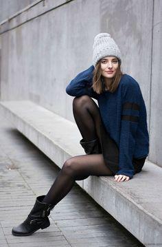 navy knit street style