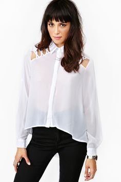 Laced Tail Blouse in White