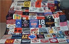Spring cleaning revealed bunches of vintage tee shirts. Wondering how I can retain the memories without taking space. This looks like a great, light-weight coverlet, which will bring all the memories. Any ideas as to how to actually MAKE this???