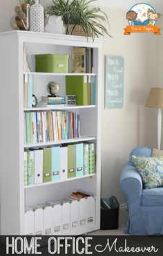 Summer Storage and Organization Blues Home Office Makeover Styled Bookcase Office Bookshelves, Bookshelf Organization, Office Organization At Work, Home Office Organization, Bookcase, Office Ideas, Bookshelf Ideas, Organizing, Home Office Design