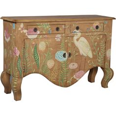 Painted Tropical Birds Sideboard ($1,895) ❤ liked on Polyvore featuring home, furniture, storage & shelves, sideboards, colored furniture, tropical painted furniture, colorful furniture, painted furniture and mahogany furniture
