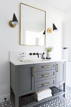 Small guest bathroom with dark custom vanity, gray vanity, modern traditional ba. Small guest bathroom with dark custom vanity, gray vanity, modern traditional bathroom Bathroom Renos, Grey Bathrooms, Bathroom Interior, Master Bathroom, Bathroom Ideas, Budget Bathroom, Bathroom Storage, Bathroom Mirrors, Remodel Bathroom