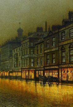 c0ssette: 1893 John Atkinson Grimshaw (English; 1836-93) ~Greenock Harbour at Night [detail]