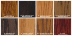 General Finishes Pro Floor Stain® Color Swatch / Chart for Hardwood Flooring