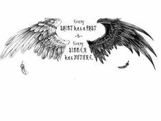 angel and demon wings tattoo 4 Tattoo, Back Tattoo, Tattoo Drawings, Trendy Tattoos, Tattoos For Guys, Cool Tattoos, Skull Tattoos, Body Art Tattoos, Eagle Wing Tattoos