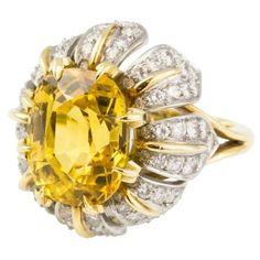TIFFANY & CO. SCHLUMBERGER Sapphire Diamond Platinum Gold Ring by Eva
