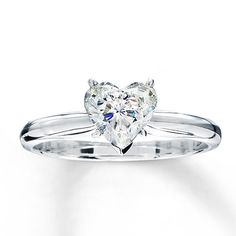 Diamond Solitaire Ring 1 carat Heart-shaped 14K White Gold