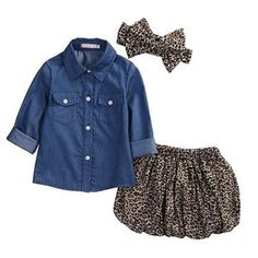Velvet passion σετάκι φόρμας με ρίγα | My Little One Leopard Skirt Outfit, Leopard Print Skirt, Skirt Outfits, Leopard Outfits, Leopard Shirt, Denim Outfit, Girls Denim Shirt, Blue Shirt With Jeans, Cute Baby Girl Outfits