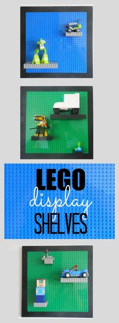 Easy (and adjustable) LEGO Display Shelves. What a fun idea for LEGO display shelves! Are there LEGO pieces and creations all over your house? These LEGO display shelves are adjustable and easy to prepare for each specific creation. Lego Display Shelf, Lego Shelves, Lego Storage, Boys Lego Bedroom, Boy Room, Kids Room, Lego Bedroom Decor, Bedroom Furniture, Crafts For Boys