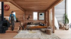 Create Your Own Modular Hut With a Brilliant Prefabricated Assembly Kit - Photo 4 of 8 - The Surf Shack's interior wall and ceiling finish will be done in cedar, while the floors will be finished in oak.