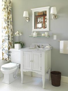 FOUND THE PERFECT GREY PAINT! Behr's Plymouth Grey in bathroom, could make it work with the white curtain a have