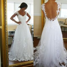 Tulle A-Line Garden Beach Wedding Dresses With Applique and Hand-Bead Low Open Back Bridal Gowns Sweep Train 2016 Cheap
