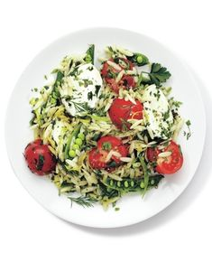 Mozzarella, Orzo, and Snap Pea Salad from realsimple.com #myplate #vegetables