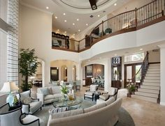 Living room in 2019 house, dream mansion, beautiful living rooms. Dream Home Design, My Dream Home, Home Interior Design, Luxury Interior, Room Interior, Interior Stairs, Modern Interior, Interior Ideas, Luxury Furniture