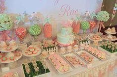 Dessert table at a pink & mint butterfly baby shower party! See more party ideas at CatchMyParty.com!