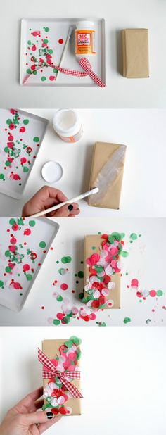 DIY Confetti Christmas Gift Wrap the Easy Way If you tend to do things a little last minute like me, here's an idea for embellishing wrapped gifts. This DIY confetti wrap is so fun and colorful! Craft Gifts, Diy Gifts, Handmade Gifts, Craft Items, Creative Gift Wrapping, Creative Gifts, Gift Wrapping Ideas For Birthdays, Wrapping Presents, Creative Ideas