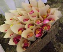 fresh rose petal confetti cones