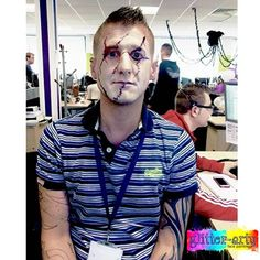 Halloween Chucky Face Painting by Glitter-Arty Face Painting, Bedford, Bedfordshire Chucky Face, Face Painting For Boys, Glitter Face, Boy Face, Henna Artist, Face Art, Halloween Face, Men Casual, Mens Tops
