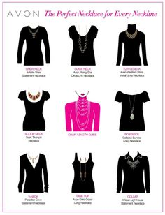 Avon Necklace Length Guide - find the perfect necklaces for every neckline with this helpful Avon Chart.  Buy Avon Necklaces at:  https://www.avon.com/category/jewelry/necklaces?rep=barbieb #avon #necklaces #selectionguide #beautywithbarb #barbieb_beauty #neckline #guide