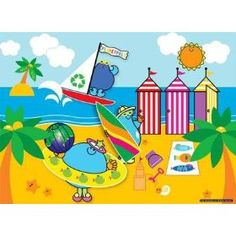 """PlanetPals Save Our Oceans BEACH Recycled Puzzle 24 Pieces      Product Features  Finished Size: 15"""" X 11""""  Pieces: 24  Manufacturer: Ceaco  Recommended Age: 3+  Artist: Judith Gorgone www.Planetpals.com"""